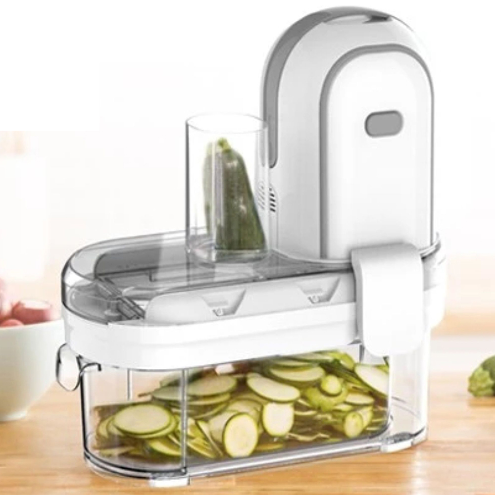 New design 3-in-1 Electric Home Use Vegetable Fruit Processor Spiralizer Cutter